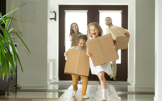 Mum, Dad and Kids moving into new home